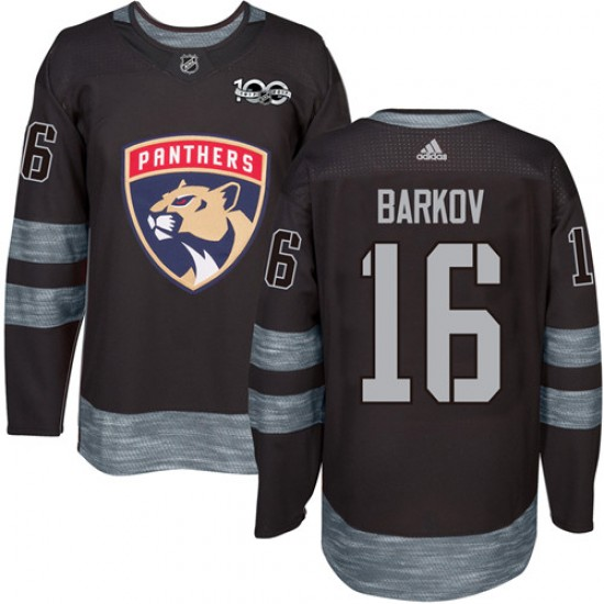 Men's Florida Panthers Aleksander Barkov Adidas Authentic 1917-2017 100th Anniversary Jersey - Black