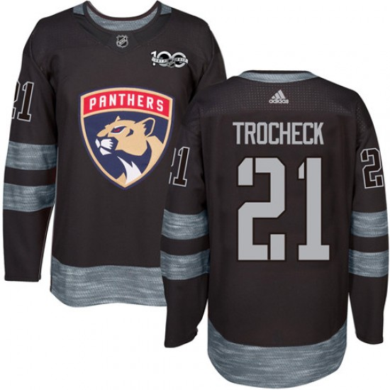 Men's Florida Panthers Vincent Trocheck Adidas Authentic 1917-2017 100th Anniversary Jersey - Black