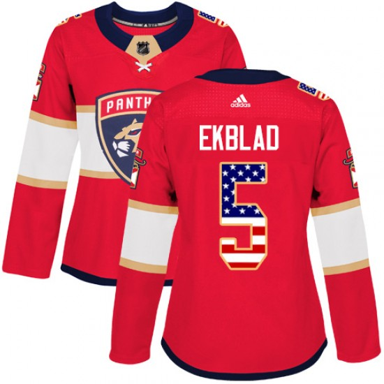 the latest 7731d 7f232 Women's Florida Panthers Aaron Ekblad Adidas Authentic USA Flag Fashion  Jersey - Red