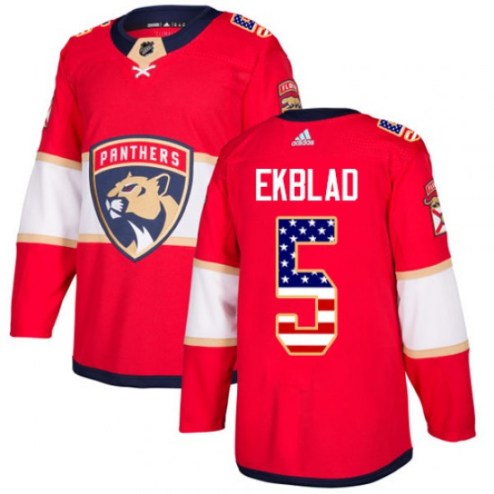 Youth Florida Panthers Aaron Ekblad Adidas Authentic USA Flag Fashion Jersey - Red