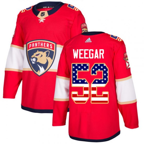 Youth Florida Panthers MacKenzie Weegar Adidas Authentic USA Flag Fashion Jersey - Red