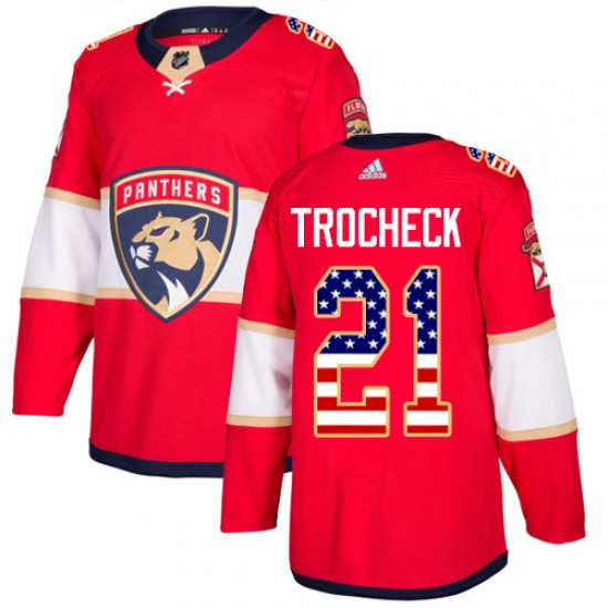 Men's Florida Panthers Vincent Trocheck Adidas Authentic USA Flag Fashion Jersey - Red